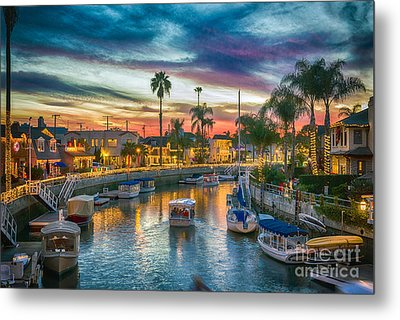 Naples Canal Christmas 5 Metal Print by David Zanzinger