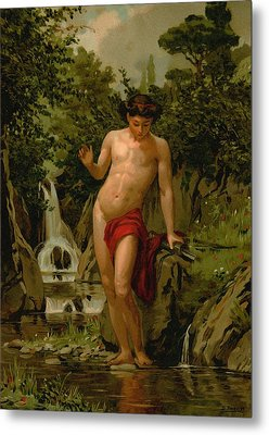 Narcissus In Love With His Own Reflection Metal Print by Dionisio Baixeras-Verdaguer