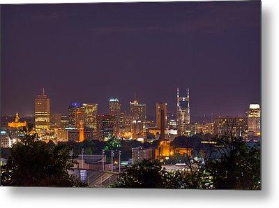 Nashville By Night 3 Metal Print by Douglas Barnett