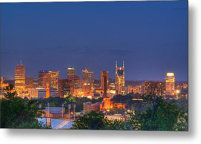 Nashville By Night Metal Print by Douglas Barnett