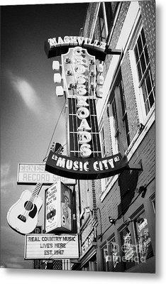 nashville crossroads music city ernest tubbs record shop on broadway downtown Nashville Tennessee US Metal Print by Joe Fox