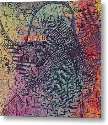 Nashville Heart Map Metal Print by Brandi Fitzgerald
