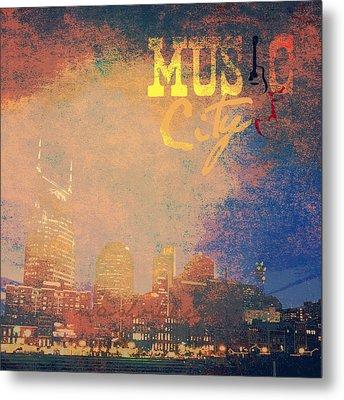 Nashville Music City Metal Print by Brandi Fitzgerald