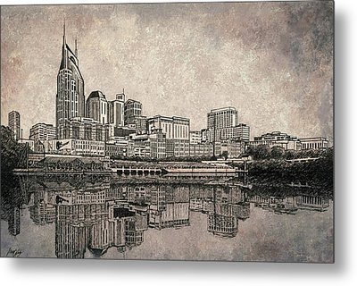 Nashville Skyline Mixed Media Painting  Metal Print by Janet King