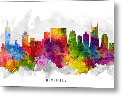 Nashville Tennessee Cityscape 13 Metal Print by Aged Pixel