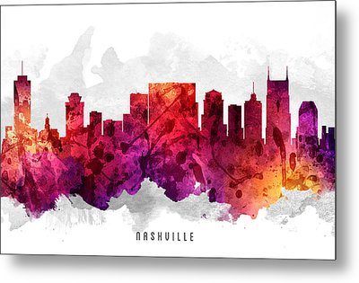 Nashville Tennessee Cityscape 14 Metal Print by Aged Pixel