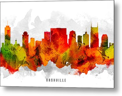 Nashville Tennessee Cityscape 15 Metal Print by Aged Pixel