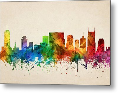 Nashville Tennessee Skyline 05 Metal Print by Aged Pixel