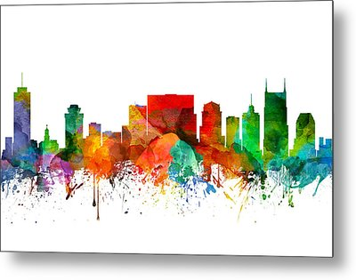 Nashville Tennessee Skyline 21 Metal Print by Aged Pixel