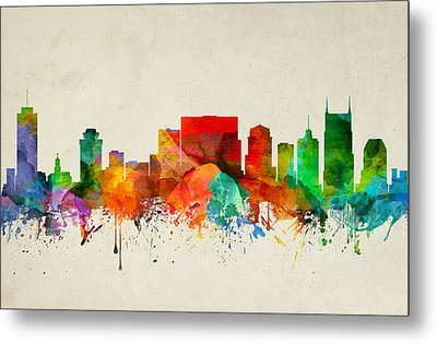 Nashville Tennessee Skyline 22 Metal Print by Aged Pixel