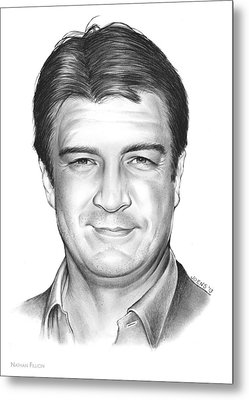 Nathan Fillion Metal Print by Greg Joens