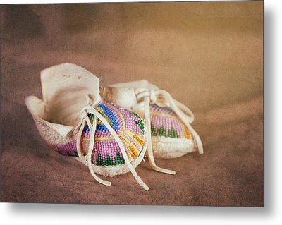 Native American Baby Shoes Metal Print by Tom Mc Nemar
