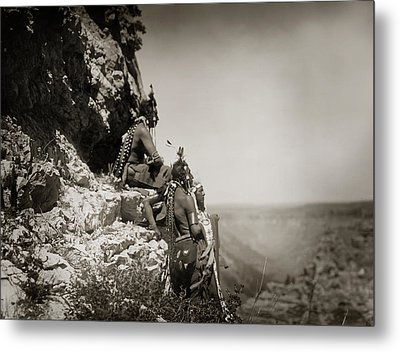 Native American Crow Men On Rock Ledge Metal Print by The  Vault - Jennifer Rondinelli Reilly