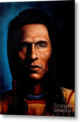 Native American Indian Soaring Eagle Metal Print by Georgia's Art Brush