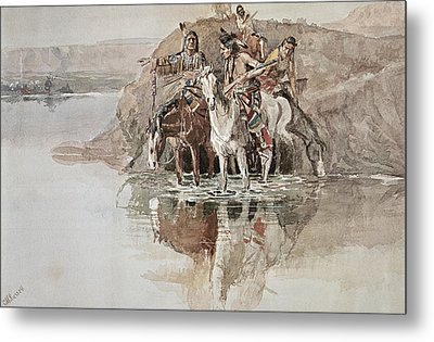 Native American War Party Metal Print by Charles Marion Russell