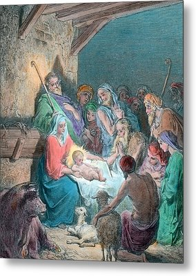 Nativity Scene Metal Print by Gustave Dore