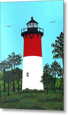 Nauset Lighthouse Tower Painting Metal Print by Frederic Kohli