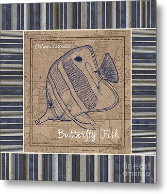 Nautical Stripes Butterfly Fish Metal Print by Debbie DeWitt