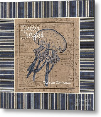 Nautical Stripes Jellyfish Metal Print by Debbie DeWitt
