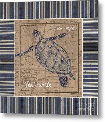 Nautical Stripes Sea Turtle Metal Print by Debbie DeWitt