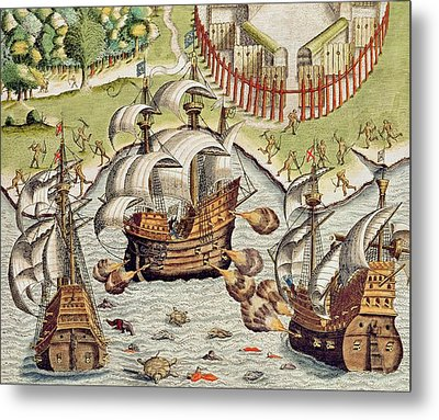 Naval Battle Between The Portuguese And French In The Seas Off The Potiguaran Territories Metal Print by Theodore de Bry