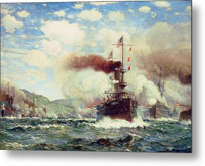 Naval Battle Explosion Metal Print by James Gale Tyler