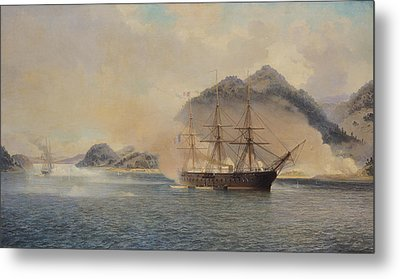Naval Battle Of The Strait Of Shimonoseki Metal Print by Jean Baptiste Henri Durand Brager