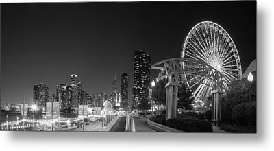 Navy Pier In Black And White Metal Print by Twenty Two North Photography