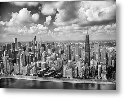 Near North Side And Gold Coast Black And White Metal Print by Adam Romanowicz