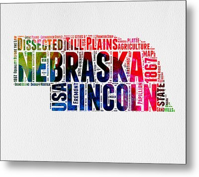 Nebraska Watercolor Word Cloud  Metal Print by Naxart Studio