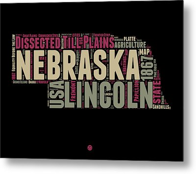 Nebraska Word Cloud 1 Metal Print by Naxart Studio