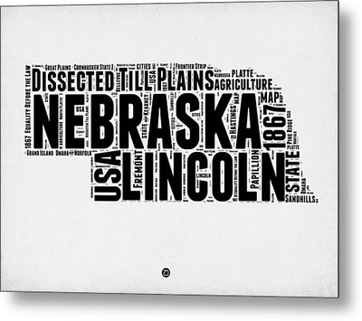 Nebraska Word Cloud 2 Metal Print by Naxart Studio