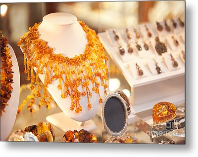 Necklace Of Amber Beads In Shop Metal Print by Arletta Cwalina