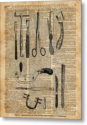 Necropsy Kits,anatomy Medical Instruments,surgery Decoration,dictionary Art,vintage Book Pag Metal Print by Jacob Kuch