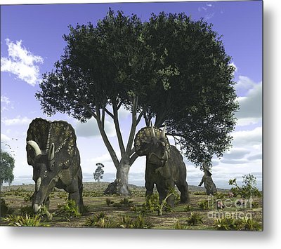 Nedoceratops Graze Beneath A Giant Oak Metal Print by Walter Myers