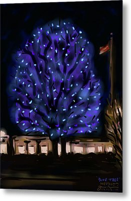 Needham's Blue Tree Metal Print by Jean Pacheco Ravinski