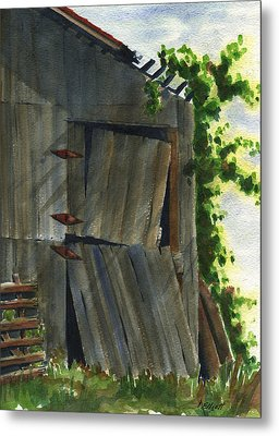 Neighbor Dons Old Barn 3 Metal Print by Marsha Elliott