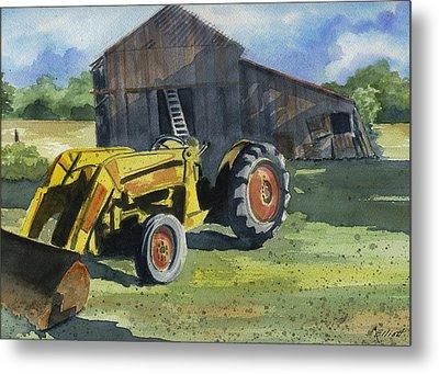 Neighbor Dons Tractor Metal Print by Marsha Elliott