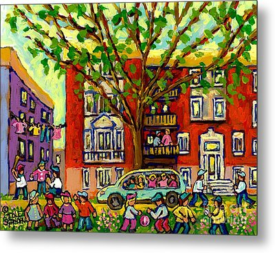 Neighborhood Block Party Paintings Of Children Summer Street Scene Montreal Art Carole Spandau       Metal Print by Carole Spandau