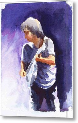 Neil Young With Gretsch White Falcon Metal Print by Ken Daugherty