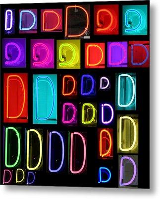 Neon Alphabet Series Letter D Metal Print by Michael Ledray