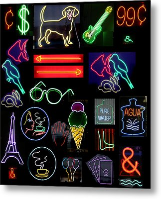 Neon Sign Series With Symbols Of Various Shapes And Colors Metal Print by Michael Ledray