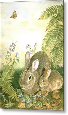 Nesting Bunnies Metal Print by Patricia Pushaw