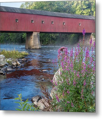 New England Covered Bridge Connecticut Square Metal Print by Bill Wakeley