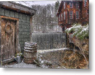 New England Snow Scenes - Frye's Measure Mill - Wilton, Nh Metal Print by Joann Vitali