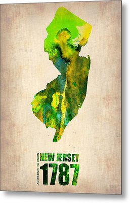 New Jersey Watercolor Map Metal Print by Naxart Studio