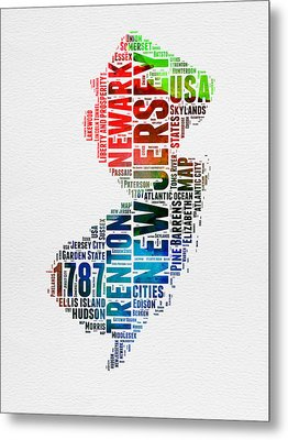 New Jersey Watercolor Word Cloud  Metal Print by Naxart Studio