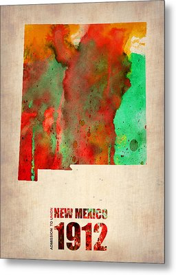 New Mexico Watercolor Map Metal Print by Naxart Studio