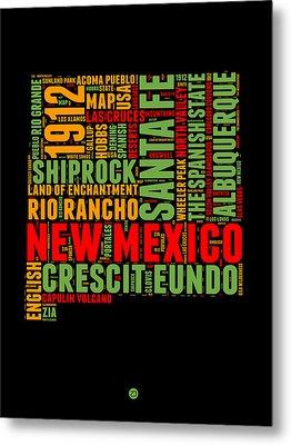 New Mexico Word Cloud Map 1 Metal Print by Naxart Studio