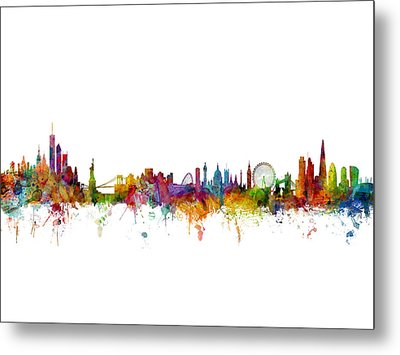 New York And London Skyline Mashup Metal Print by Michael Tompsett